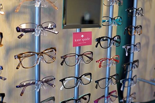 a selection of frames in the optical shop at Evergreen Eye Care